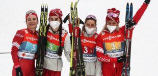 Российские лыжницы завоевали серебро в эстафете на чемпионате мира